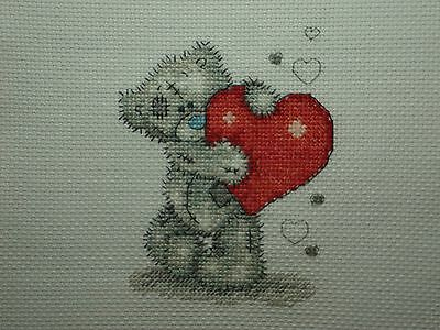 """Completed Cross Stitch Tatty Teddy """" Hearts """""""