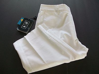 Women's White Flat-Front Stretch ADIDAS Pedal Pusher Golf Shorts Size 2 NWT
