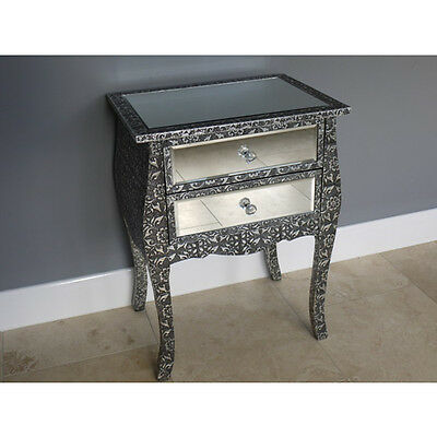Blackened Silver Metal Embossed 2 Drawer Mirrored Bedside Table Cabinet