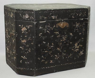 Large Antique Chinese Black Lacquer Mother of Pearl Shell Inlay Tea Caddy