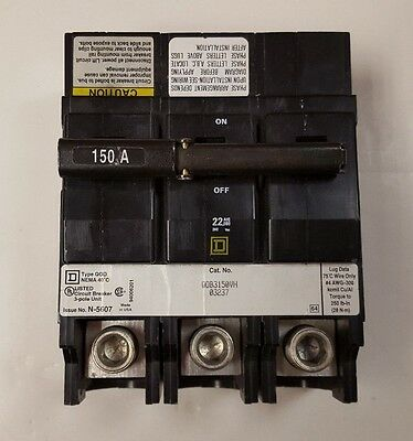 Square D QOB3150VH  3 Pole 150 Amp 240 Volt Circuit Breaker - Used