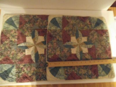 """2 Set Vintage American Pacific Patchwork Quilted Pillow Shams Floral 16"""" x 16"""""""