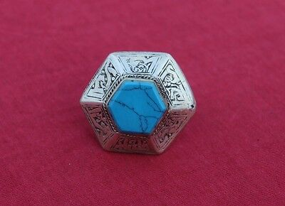 Vintage Antique Afghan Turkmen Turquoise Ring Tribal Traditional Handmade Silver