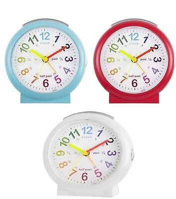 Acctim Lulu Red/Blue Time Teaching Bold Silent Sweeping Second Alarm Clock 15219