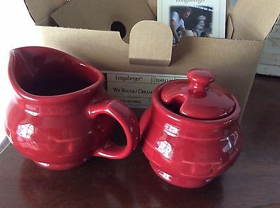 Longaberger Pottery Sugar and Creamer Set Tomato Red New in Box