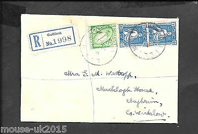IRELAND REGd COVER FROM GAILLIMH TO Co WICKLOW ?½d VALUE INVERTED