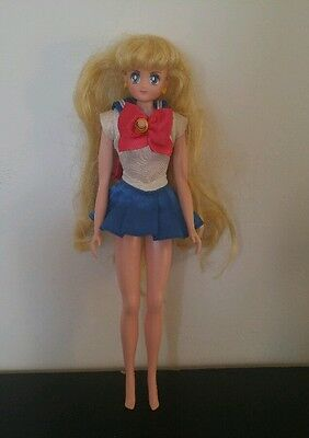 Irwin Sailor Moon Doll 2000 Blonde w Dress and Yellow Moon on Forehead Earrings