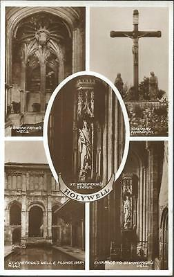 Real Photo Postcard c1930's HOLYWELL St. Winefride's Well Statue by Valentine's