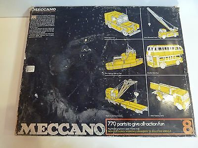 Meccano 1970's Yellow and Blue No 8 Set 100% Complete Great Condition