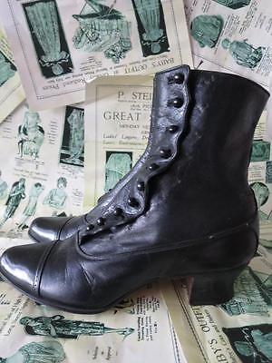 Well Loved Pair Antique Victorian Black Leather Buttoned Ankle Boots