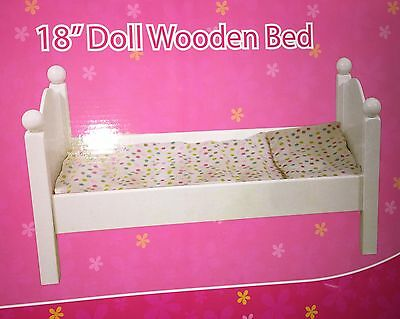 """New 18"""" Doll Wooden White Bed & Bedding For American Girl My Life As Dolls Wood"""