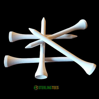 White Wooden Golf Tees 70mm -Quantities Of 10/25/50/100/250/500 NEW *FREE P&P*