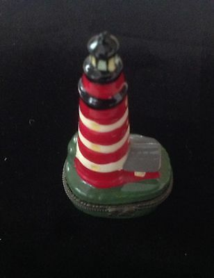 Vintage Hand Painted Porcelain Lighthouse Red and White Trinket Pill Box