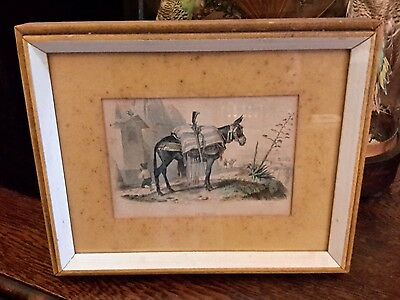Antique Etching Block Print Horse Le Mulet Mid 1800s Framed Matted 11 1/2""