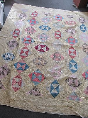 """1920's - 1930"""" Handmade Quilt 75"""" x 66"""" Pale Yellow, Pink & Blue"""