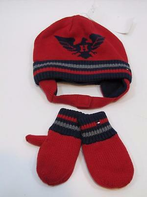 NWT Toddler Boys Tommy Hilfiger Beanie & Mitten Set Navy Blue & Red 2T