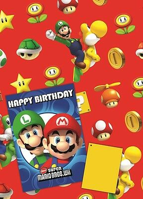 Super Mario | Luigi | Toad | Star Giftwrap | Gift Tags & Happy Birthday Card