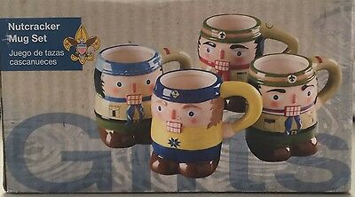 New Nutcracker Mug Set Of 4 Boy Scouts and Cub Scouts Holiday BSA Cups Christmas
