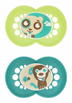 MAM Silicone Cartoon Pacifier Boy 6 Plus Months 2-Count (For Boy)