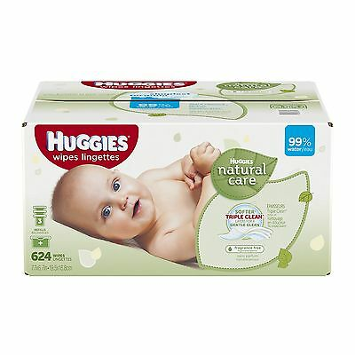 Huggies Natural Care Fragrance Free Baby Wipes Refill Bags 624 Count