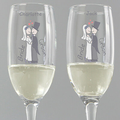 Personalised Cartoon Bride and Groom Toasting Champagne Flutes Glasses - Boxed