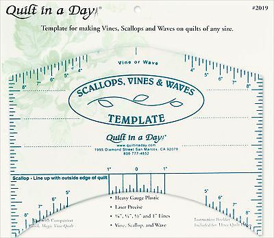 Quilt In A Day Scallops Vines  and  Waves Template-9-InchX7-Inch