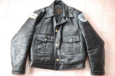 "blouson POLICE CHICAGO ""taylors"" cuir vintage made in USA noir 40us"