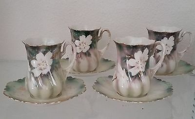 RS Prussia marked set of four chocolate or demitasse cups with saucers plus dish