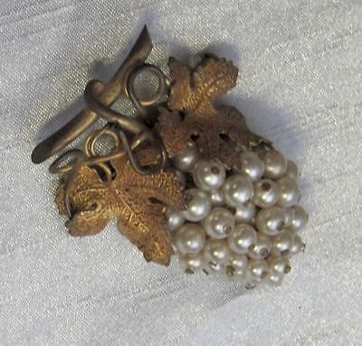 Victorian Faux Pearl Grape Vine Brooch Pin Textured Leaves
