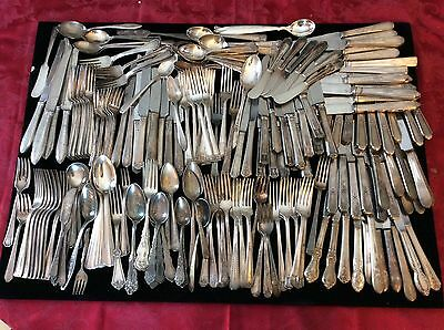 Antique Silverplate Flatware Lot Of 113 Fork Spoon Knife Craft Repurpose Use