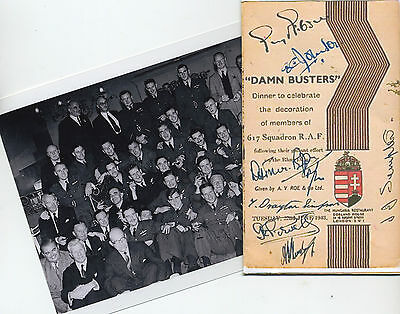 Guy Gibson-617 Sqdn Party Photo & Full Menu After Award 1943  (Dambusters) Ww2