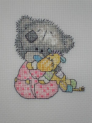 """Completed Cross Stitch Tatty Teddy """" Mini Bear with Toy """""""