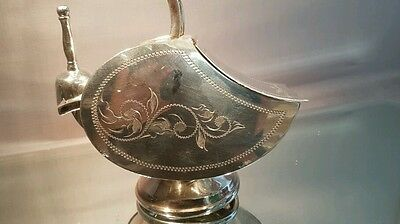 A beautiful rare vintage silver platrd sugar scuttle and scoop