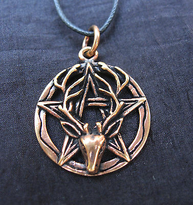 "NEW Bronze Stag Pentagram Amulet 1"" Pendant Necklace Charm Copper Wicca Pagan"