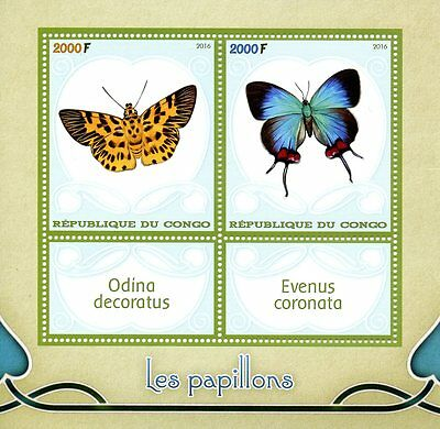 Congo 2016 MNH Butterflies 2v M/S Insects Stamps