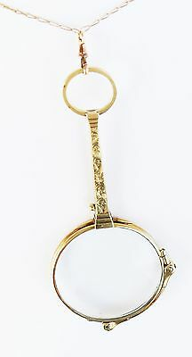 Victorian Yellow Gold Lorgnette With Chain, 14K gold, Chain 18K gold