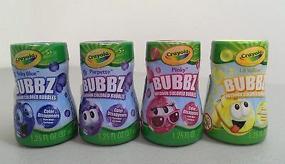 4 Pack: Crayola Bubbz Outdoor Colored Bubbles - Purple, Blue, Yellow, Pink