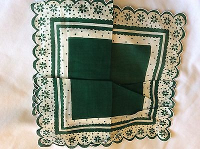 Green And White Vintage Handkerchief Cotton