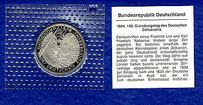 5 DM BRD Deutscher Zollverein 1984 D Original PP Bad Homburg Gedenkmünze - TOP