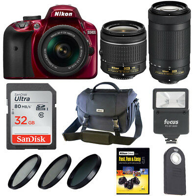 Nikon D3400 DSLR Camera w/ 18-55mm & 70-300mm Lens with Nikon Bag + Kit