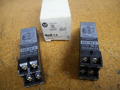 (2) Allen Bradley 595-AB Ser C Auxiliary Contacts 1NO-1NC For Nema Sizes 0-5 NEW