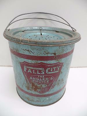 Falls City Angler's Choice Metal Fish Minnow Bait Bucket Pail#8 Hinged Lid Vtg
