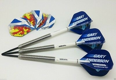 Gary Anderson Replica Tungsten Darts Set  Unicorn  Flights Weights 22,24,26,28