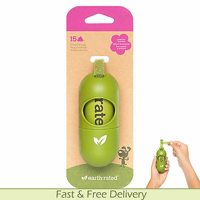 Dog Poo Bags Case Earth Rated + 15 Scented Biodegradable Bags Leash Dispenser