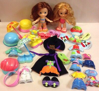 Fisher Price Snap and Style Dolls Play Set Lot Snowboard Witch Umbrella Clothes