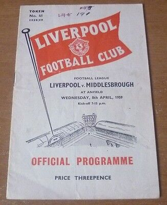 Liverpool v Middlesbrough, 1958/59 - Division Two Match Programme