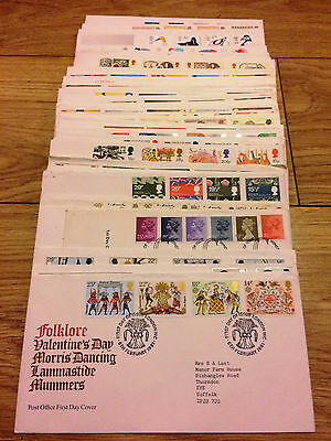 Job Lot of 54 UK GB FDC's First Day Covers from 1981 to 1990 Lot #A135