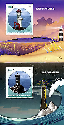 Congo 2016 MNH Lighthouses 2x 1v S/S Kermorvan Yeongdeok Lighthouse Stamps