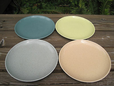 Vtg Taylor Smith Pebbleford 4 Bread Dessert Plates Yellow Peach Turquoise Blue