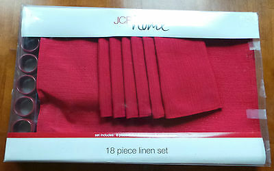 JCP Penney Home 18 pc  Placemat, Napkins, Rings Set Red New in package